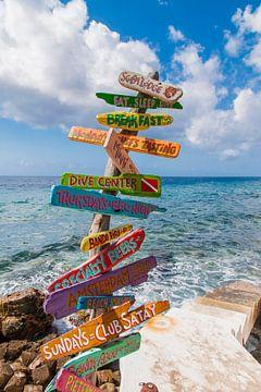 Wegweiser in Curacao von Tim van Breukelen