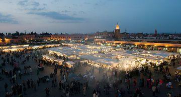 Panorama Djeema-el-fna markt Marrakech Marokko sur Keesnan Dogger Fotografie