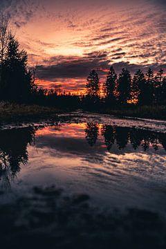 Reflectie bij zonsondergang van Joris Machholz