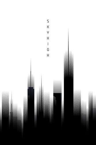 Grafische Kunst Skyhigh | wit van Melanie Viola