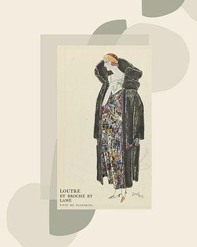 Die Frau mit Pelzmantel | Vintage Art Deco Mode Druck in einer modernen Umgebung von NOONY