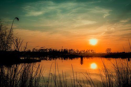 Terborg, Achterhoek zonsondergang ijssel fotoposter of  wanddecoratie van Edwin Hunter