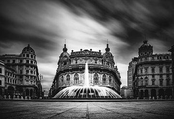 Piazza Raffaele De Ferrari Genova Schwarzweiß von Pitkovskiy Photography|ART