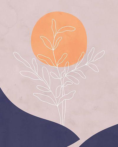 Minimalistisch landschap met een bladplant en een zon