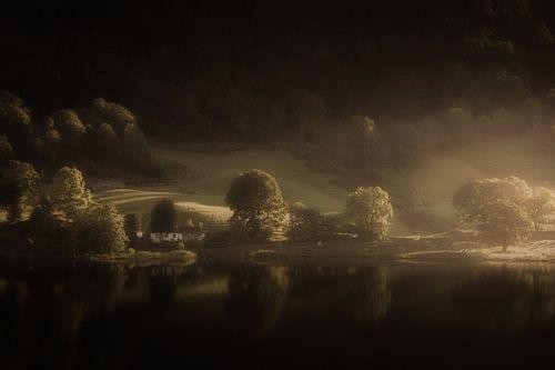 Licht in de duisternis in het Lake District in Engeland
