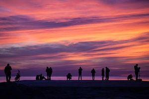 Silhouetten bij zonsopkomst van