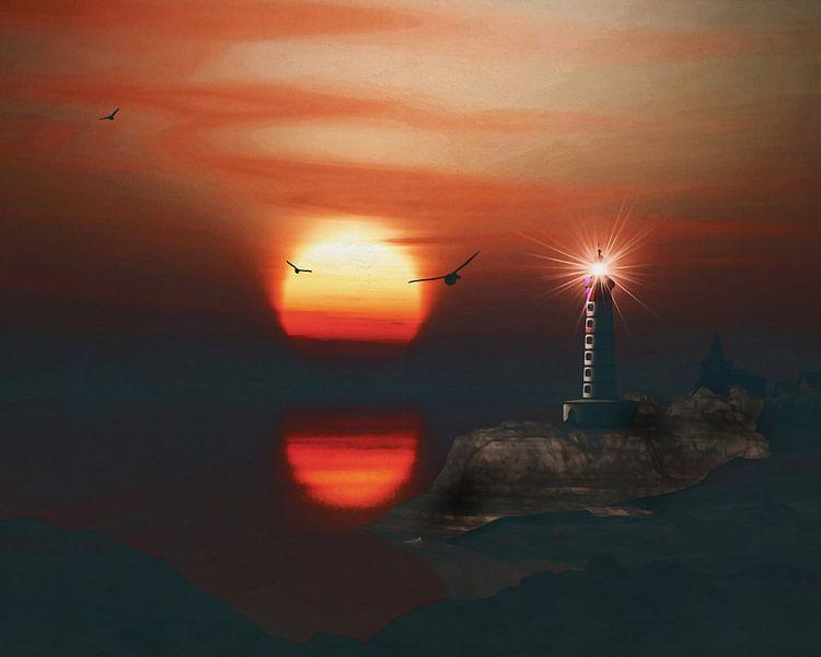 De vuurtoren van St Mathieu met een zonsondergang en wervelende veters wolken van Jan Keteleer