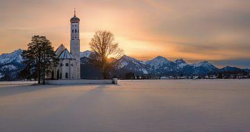 Panorama St. Coloman kerk, Hohenschwangau, Beieren, Duitsland van Henk Meijer Photography