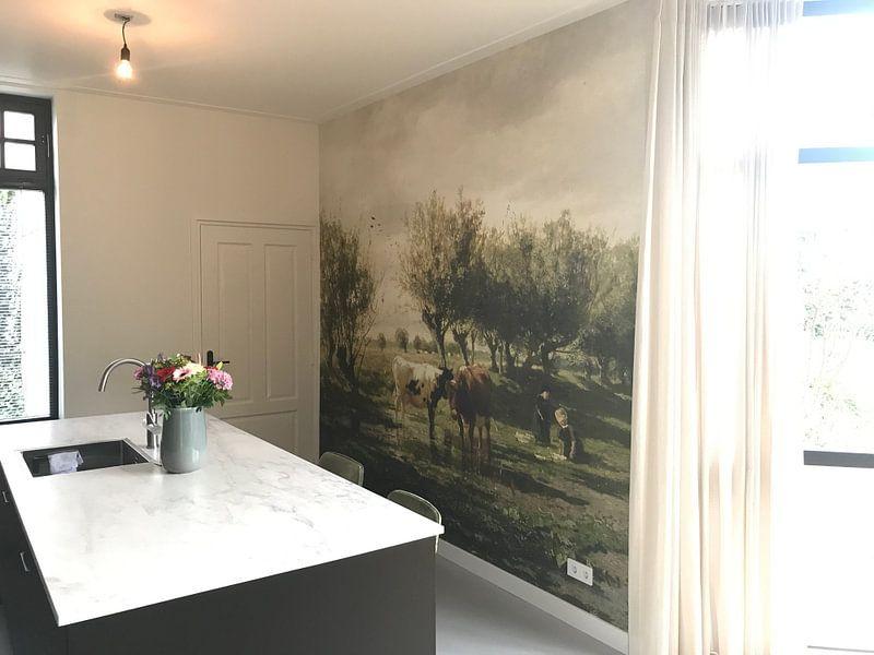 Klantfoto: Koeien bij een plas, Gerard Bilders van Meesterlijcke Meesters, op naadloos behang