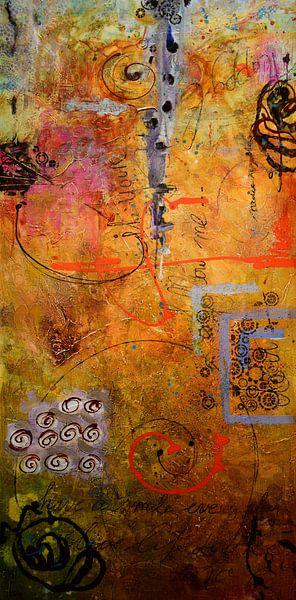 lang oranje abstract van Janny Schilderink