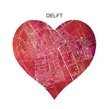 Delft | Stadtpläne als Mauerkranz von Wereldkaarten.Shop