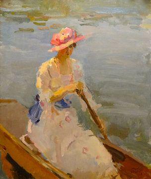 Junge Frau rudert auf der Themse, Isaac Israëls