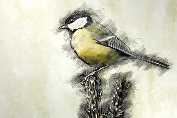Koolmeesje (tekening) van Art by Jeronimo
