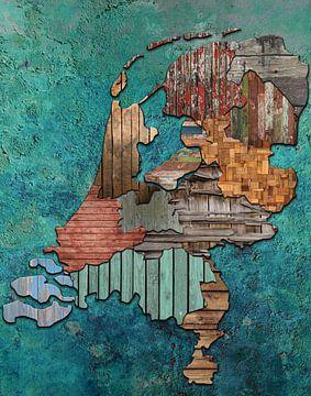 Karte Niederlande Holz von Rene Ladenius Digital Art