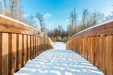 Schnee auf Brücke aus Holz in Waldlandschaft im Winter Saison von Ben Schonewille