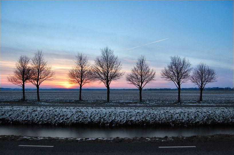 Zonsondergang in de winter van Edwin Teuben