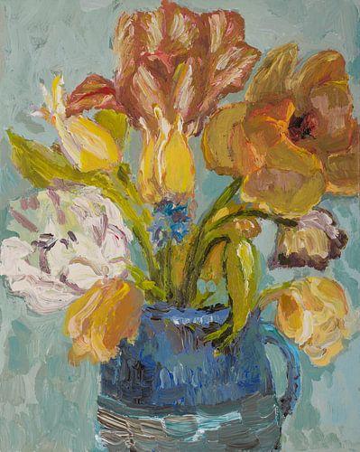 Blauwe bloemen van Tanja Koelemij