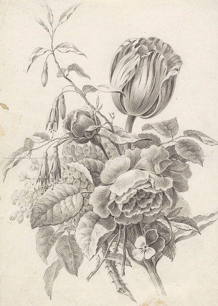 Stilleven boeket in zwart wit van Vintage en botanische Prenten