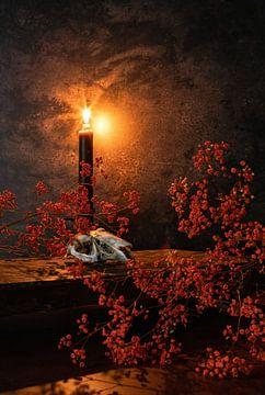 Kaninchenschädel und Kerzenlicht. von Justin Sinner Pictures ( Fotograaf op Texel)