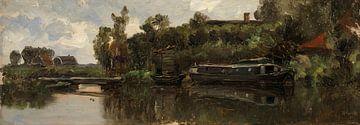 Carlos de Haes Bootslandschaft auf dem Fluss, Antike Landschaft