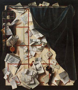 Trompe l'oeil. Cloison de séparation avec casier à lettres et livre de musique, Cornelis Norbertus G sur