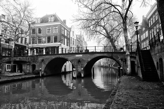 De Gaardbrug in zwartwit gezien vanaf de werf in Utrecht