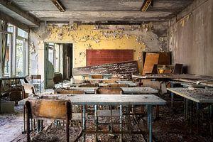 Klaslokaal in Verlaten School.