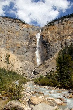 Takakkaw falls in Canada van Digitale Schilderijen