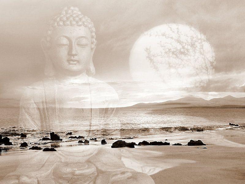 Frieden Buddha Lanzarote Strand van Renate Knapp