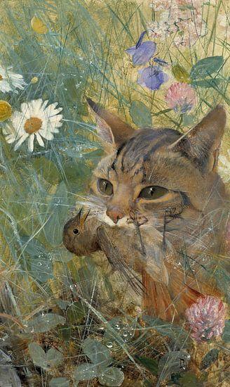 Bruno Liljefors. Een kat met een jonge vogel in zijn bek van 1000 Schilderijen