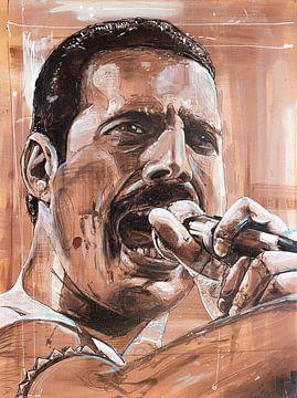 Freddie Mercury schilderij van Jos Hoppenbrouwers