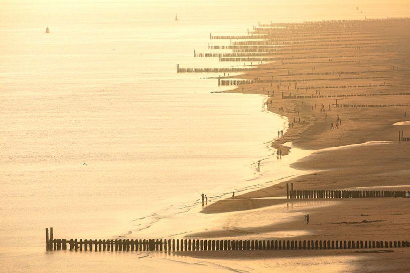 Kustlijn Zoutelande in zomers licht van Thom Brouwer