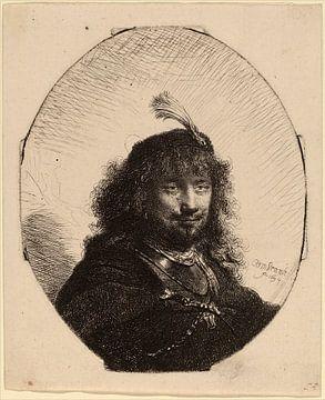 Rembrandt van Rijn  Autoportrait avec chapeau à plume et sabre abaissé sur