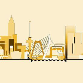 Die Skyline von Rotterdam in Goldtönen von Frans Blok