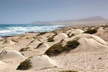 Zandduinen en de Atlantische Oceaan bij Cabo Santa Marina op Boa Vista in Kaapverdië van Peter de Kievith Fotografie