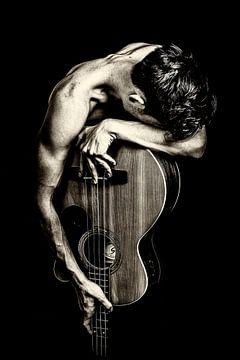 Fotoposter oder Wanddekoration Gitarrenmann von Edwin Hunter