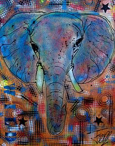 Olifant schilderij kleurrijk van