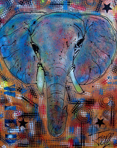 Olifant schilderij kleurrijk