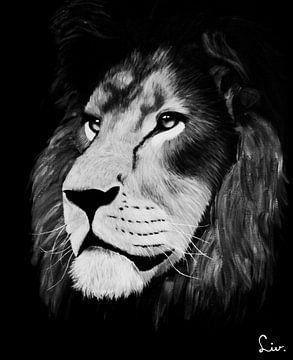 schilderij leeuw zwart/wit van Liv Jongman