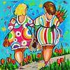 Dames hand in hand van Vrolijk Schilderij thumbnail