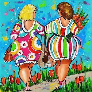 Dames hand in hand van Vrolijk Schilderij