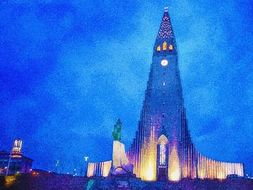 Hallgrímskirkja am Abend, Reykjavik, Island von Frans Blok