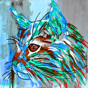 Die moderne Katze von Kathleen Artist Fine Art