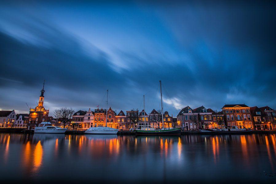 Zonsondergang over Alkmaar, Accijnstoren en Bierkade 02