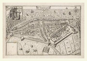 Plattegrond van Medemblik anno ca 1599, met wit kader van Gert Hilbink