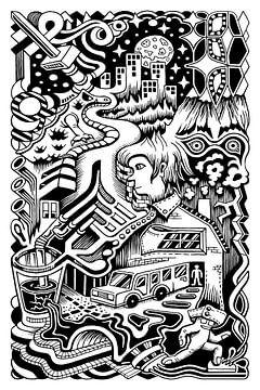 Fantasie Doodle 1 van Simon van Kessel