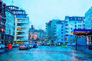 Avond Berlijn in de regen , centrum van Ariadna de Raadt