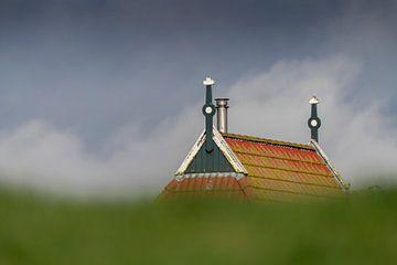 Bunter Giebel eines Bauernhofes hinter einem grünen Deich im Norden der Niederlande. von Tonko Oosterink
