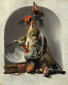 Stilleven met vogels en jachttoestellen in een nis, Melchior d'Hondecoeter van