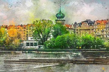 Praagse aquarelkunst #Praag van JBJart Justyna Jaszke